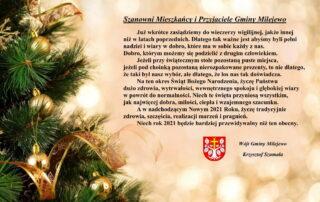 Kartka z życzeniami Świątecznymi od Wójta Gminy Milejewo